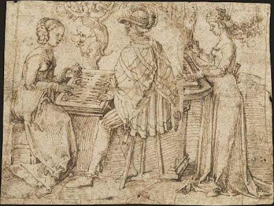 Sketch by Albrecht Dürer of checker players