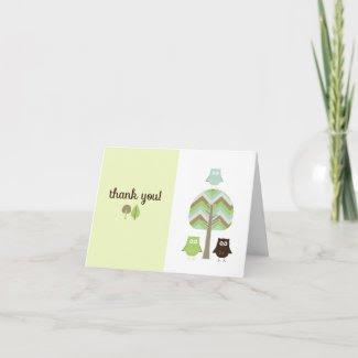 Owl Thank You Card zazzle_card