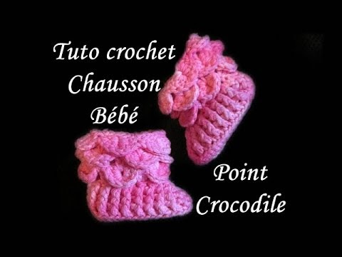 les tutos de fadinou tuto chausson bebe point crocodile au crochet. Black Bedroom Furniture Sets. Home Design Ideas