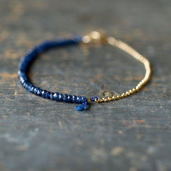 Blue Sapphire Gemstone Bracelet Precious Gem Gold Chain Delicate Handmade Jewelry. $98.00, via Etsy.