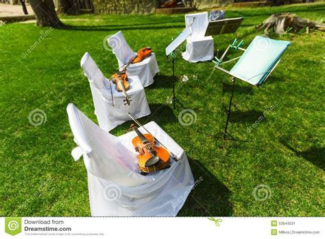Outdoors Wedding Ceremony   String Quartet's Chairs With