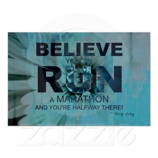 Motivation to run a marathon... Running Poster in Blue!