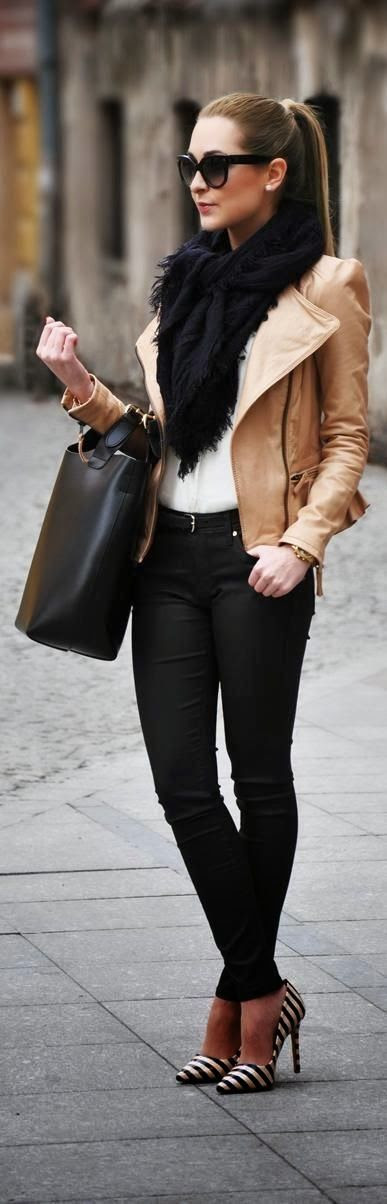 its my buisness :: white t, black skinny pants, tan leather jacket, black scarf, statement pumps, oversized black purse