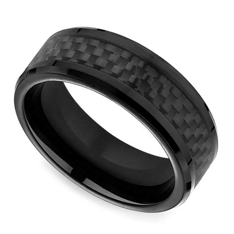 black carbon fiber mens wedding ring  cobalt