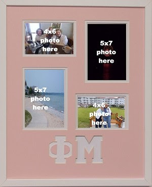 Phi Mu Sorority 16x20 Collage Photo Mat And Wall Mount Frame For 5x7