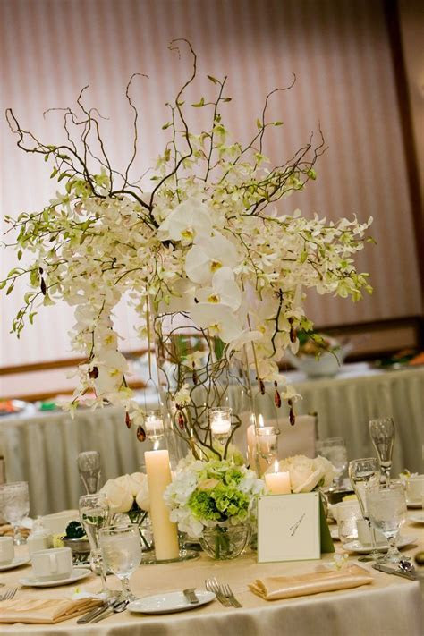 White dendrobium and phalaenopsis orchids, curly willow