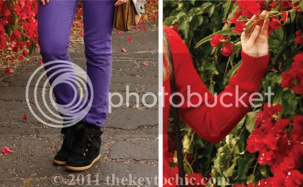 Aldo Netz wedge sneakers, American Apparel purple Slim Slack, Aldo Netz, southern California fashion blog