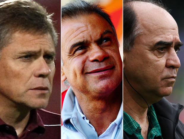 Montagem Botafogo Paulo Autuori, Jorginho, Marcelo Oliveira (Foto: Editoria de Arte/Globoesporte.com)