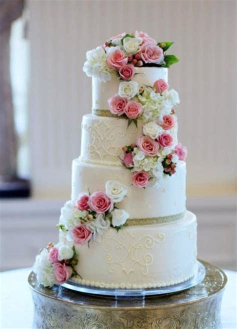 4 Tier Round White Wedding Cake with Cascading Pink