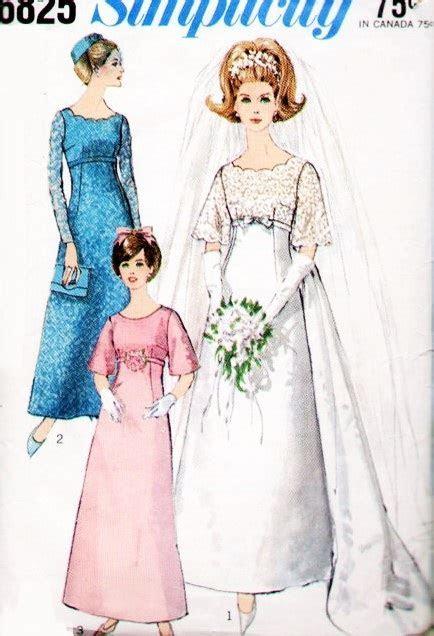60s Beautiful Empire Wedding Gown Bridal Dress Pattern