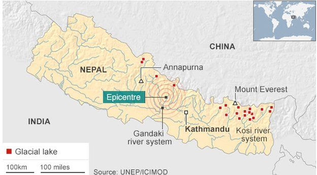 Map showing glacial lakes in Nepal