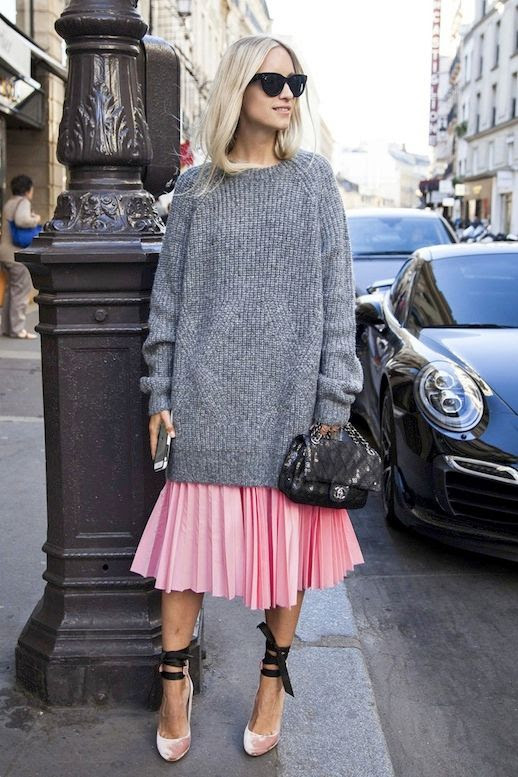 Le Fashion Blog Blogger Street Style Cat Eye Sunglasses Oversized Grey Chunky Sweater Sequined Chanel Bag Pink Pleated Skirt Ballet Inspired Wrap Heels Via The Outfit