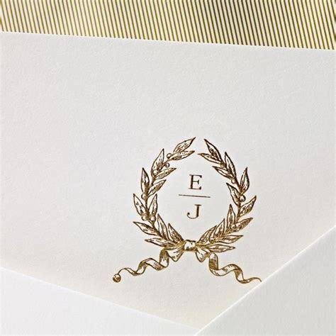 Hand Engraved Embassy Wedding Invitation with Monogram