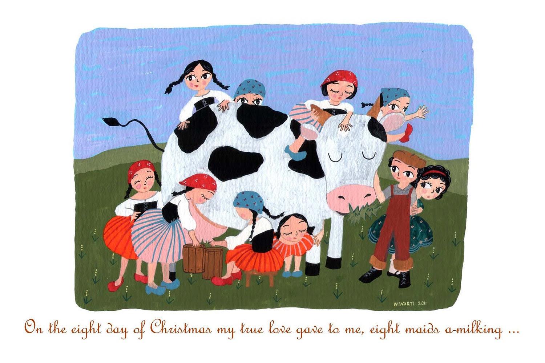 """8th Day of Christmas - 4"""" x 6"""" postcard"""