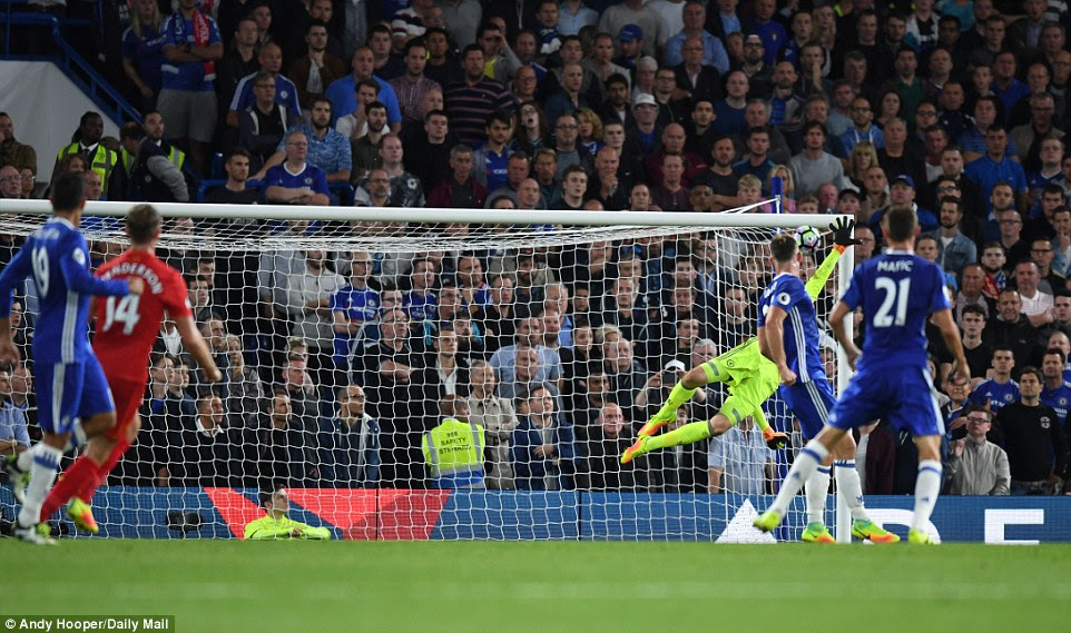 The Liverpool captain's effort finds the top corner of Chelsea's goal to send Liverpool 2-0 up on 36 minutes