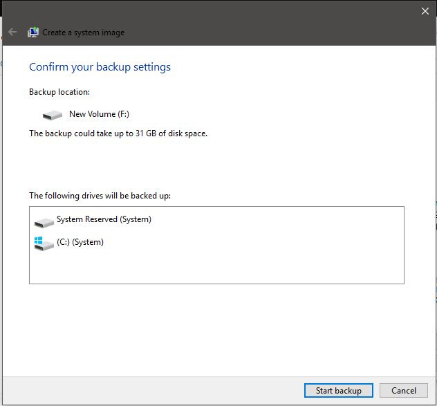 Windows 10 full backup