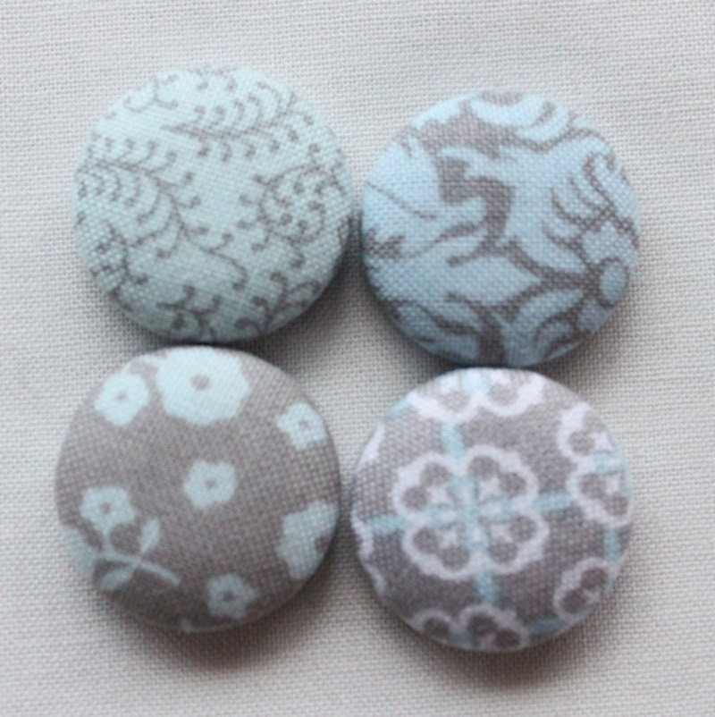 BLUE and GRAY grey magnet, kitchen button magnet, nursery fabric covered button magnet -- set of 4 - HatchlingsbyRachel