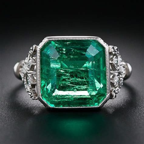 5.31 Carat Emerald and Edwardian Diamond Ring Lang