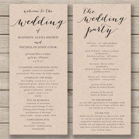 wedding program templates program template  wedding