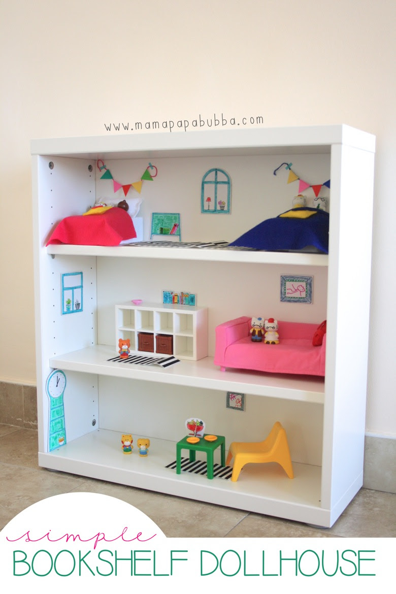 Simple Bookshelf Dollhouse | Mama Papa Bubba