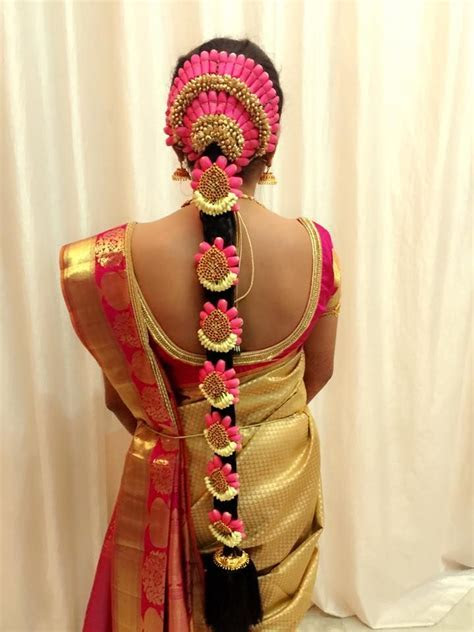 Traditional Southern Indian bride's bridal braid hair