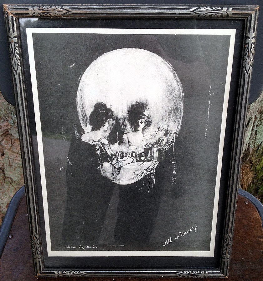 Vintage Charles Allan Gilbert 'ALL IS VANITY' Woman in Skull Macabre Print Original Art Deco Frame