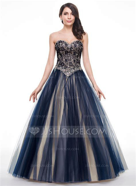 Ball Gown Sweetheart Floor Length Tulle Lace Prom Dresses