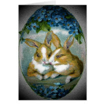 Vintage Easter Bunnies Textured Card