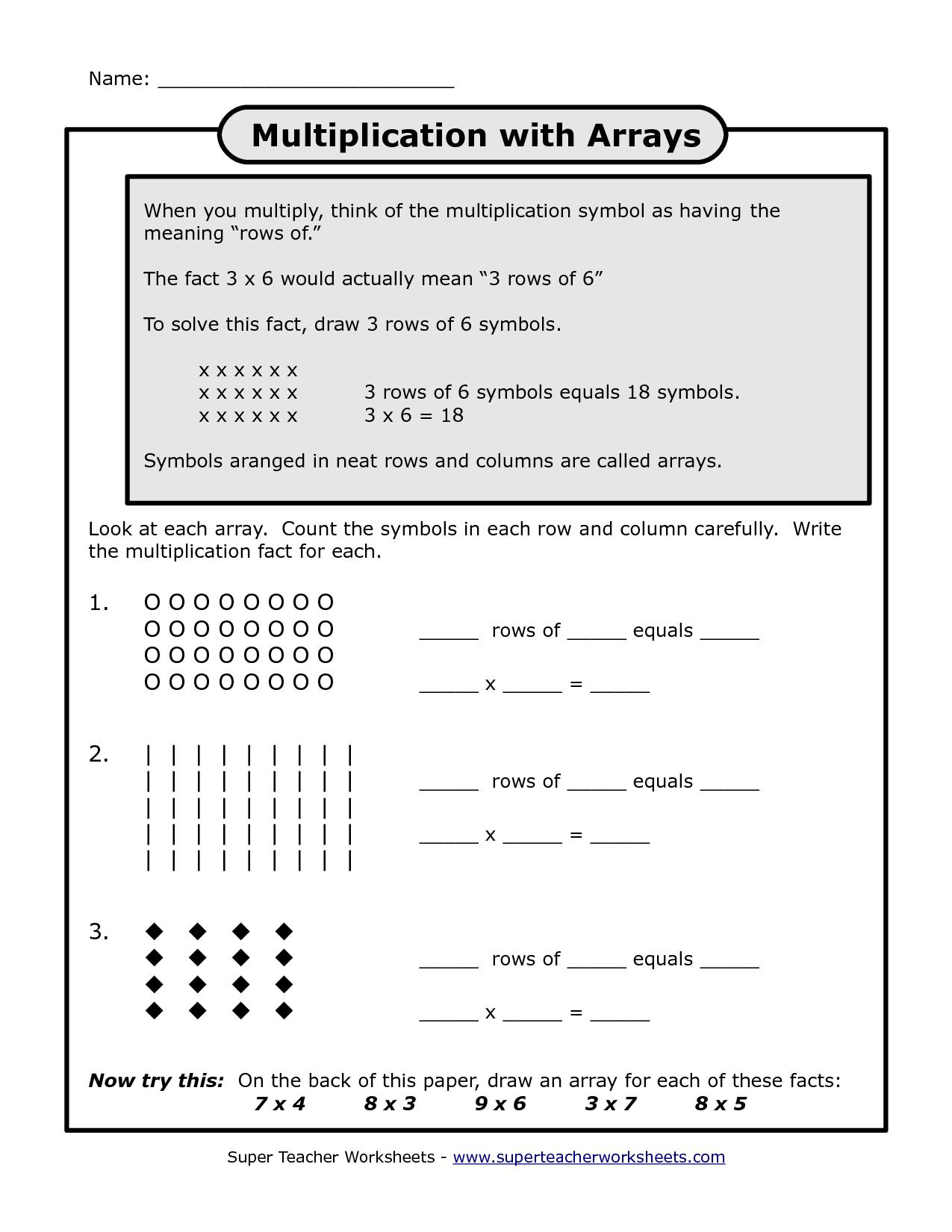 multiplication array worksheets 3rd grade_123540