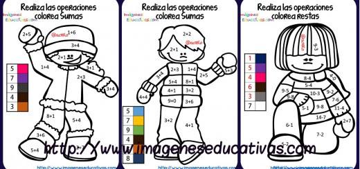 Fichas colorear sumas y restas portada