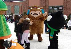 Vancouver Olympics mascots skate with Charlottetown schoolchildren on Wednesday.