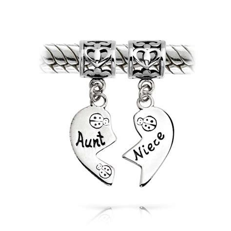 Aunt and Niece 925 Silver Heart Dangle Charm Pandora