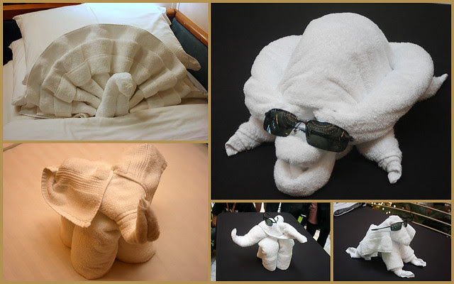 Towel origami animals