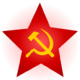A golden hammer and sickle inscribed within a red star