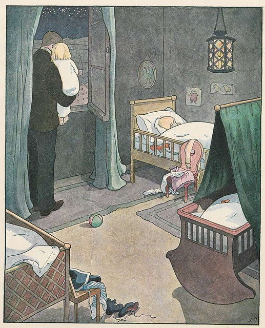 book illustration of father holding child at night at her bedroom window