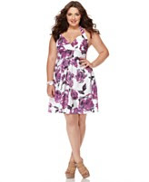 Ruby Rox Plus Size Dress, Halter Printed A-Line Empire