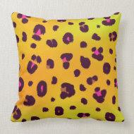 Orange Leopard Print Pillow throwpillow
