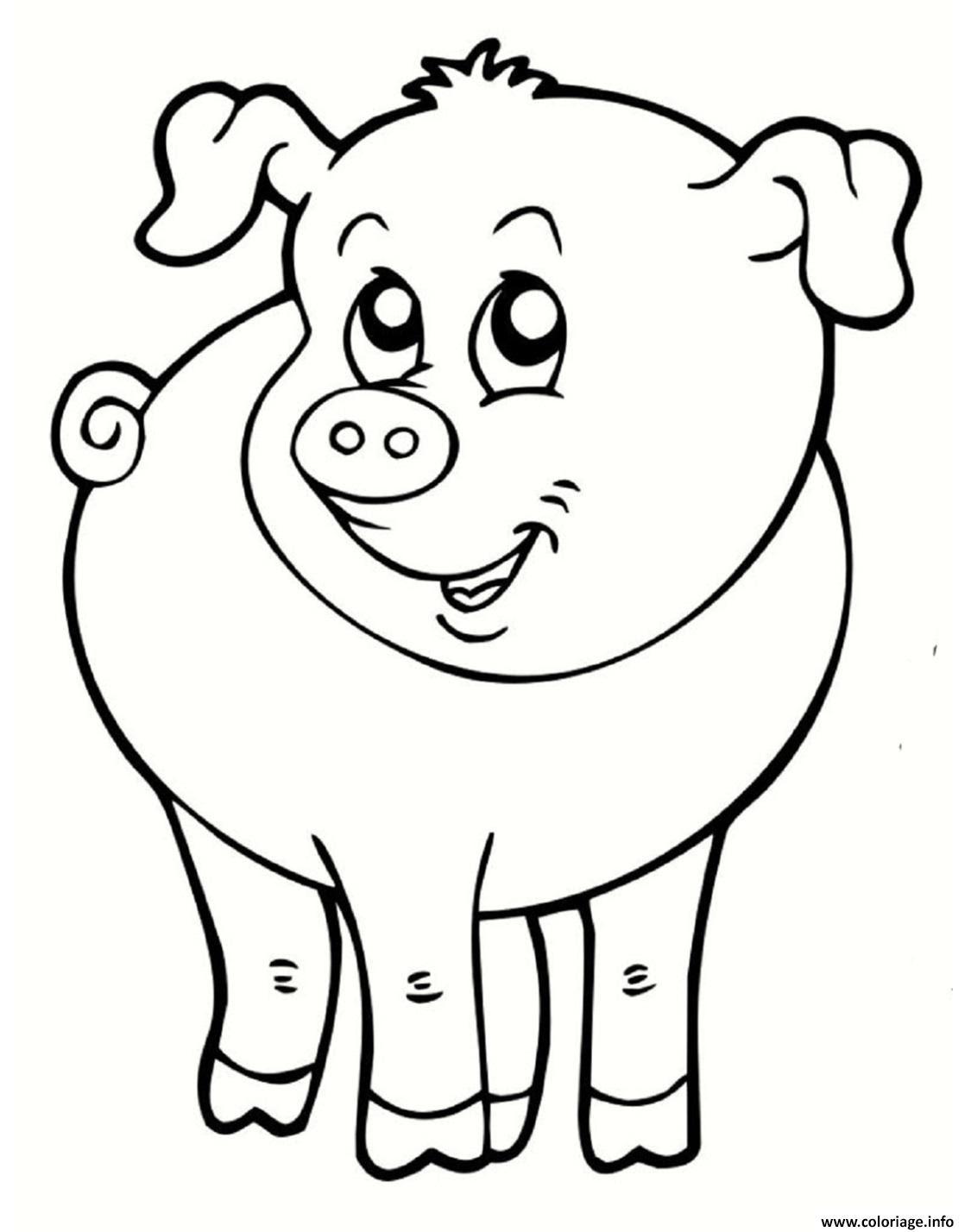 Coloriage Cochon Souriant Animal De La Ferme Dessin  Imprimer
