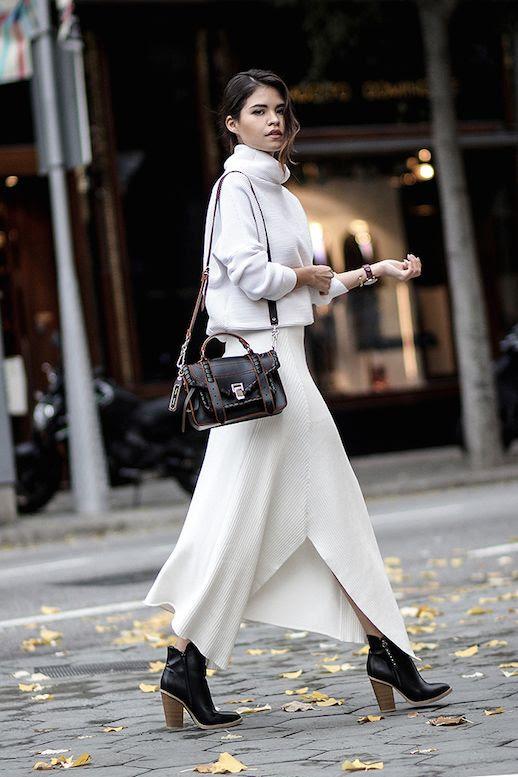 Le Fashion Blog Winter White White Turtleneck White Knit Skirt Black Booties PS1 Bag Via Fake Leather