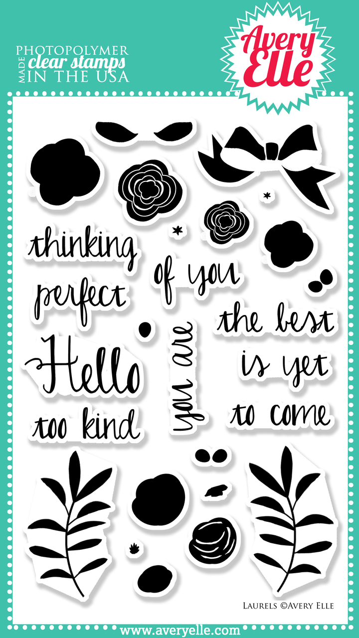 """Use our 4"""" x 6"""" Laurels clear stamp set to create beautiful floral themed cards and gift tags.  Stamp the base image of the flowers first in a light color and then stamp the coordinating detailed floral images in a complementary color to create a beautiful layered look.  Use these images with our coordinating Laurels Elle-ments steel dies to create professional results."""
