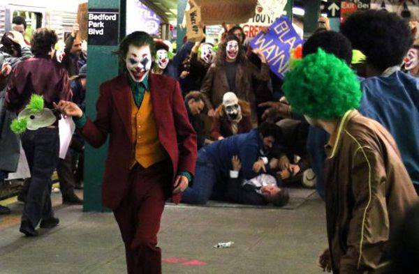 The Joker is up to no good inside a New York subway station in this snapshot from the set of JOKER.
