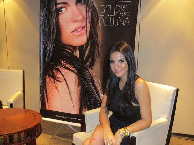 Cantora Maite Perroni, ex-RBD, em entrevista ao G1 em hotel de São Paulo (Foto: G1)