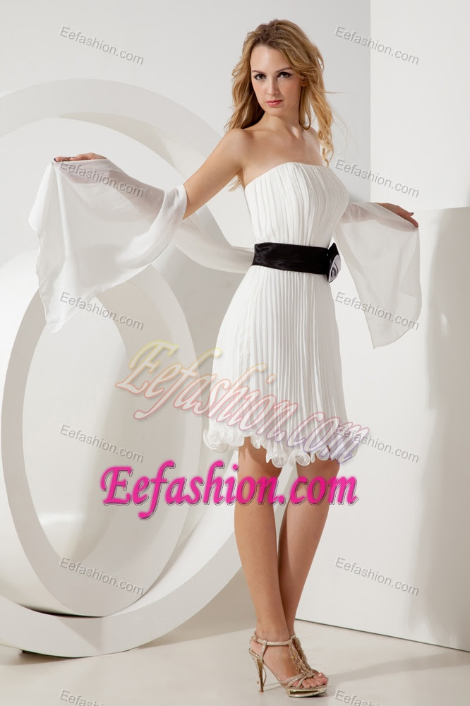 white empire strapless minilength organza college