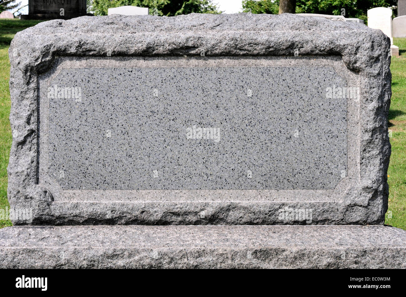 A Blank Tombstone In A Cemetery Setting Stock Photo, Royalty Free ...