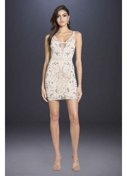Lara Brittany Beaded Short Body Con Low Back Dress   David