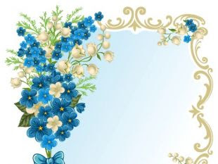 Blue Retro Flowers Frame Free Vector Free Vectors Ui Download