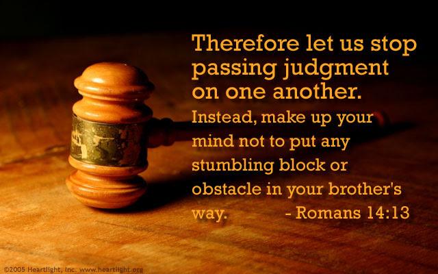 Inspirational illustration of Romans 14:13