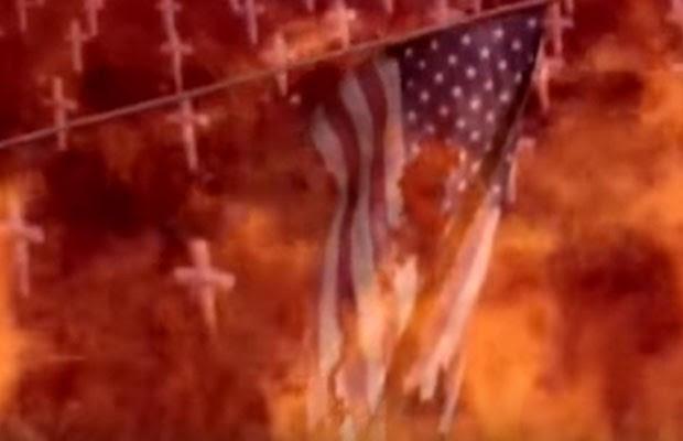 Bandeira dos Estados Unidos aparece em chamas no fim do vídeo divulgado pela Coreia do Norte. (Foto: Reprodução/Youtube)