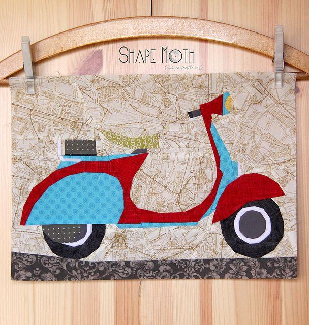 'Vespa Scooter v.2' paper piecing pattern by ShapeMoth, via Flickr