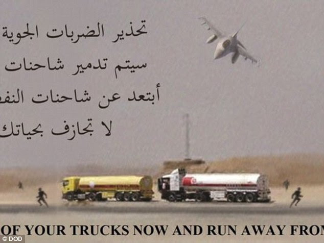 The US dropped these leaflets to warn civilian truck drivers of an incoming airstrike on 283 oil truck tankers in Syria on Sunday, urging them to get out of their trucks and run before the attacks began